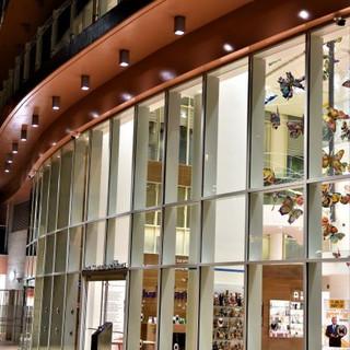 תמונת תקריב של קיר הזכוכית המעוגל. גופי תאורה במרחקים סימטריים