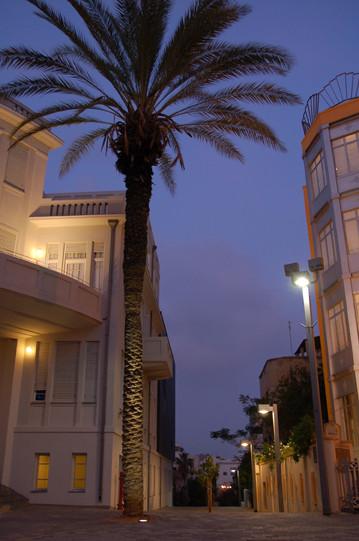 דופן בניין בית העירייה. השתלבות אסתטית עם גופי התאורה של הרחוב