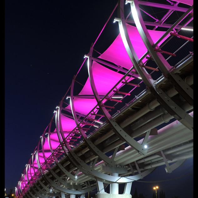 ורוד פוקסיה - כל בד ההצללה נצבע בצבע אחיד. אור לבן מדגיש את קווי המתאר של הגשר עצמו