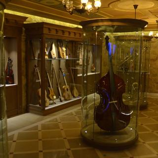 חלל תצוגה מרכזי. קפסולות זכוכית גדולות עם כלי נגינה באמצע החדר, ויטרינות עם כלי נגינה צמודות לקירות. ומעל לכל פס תאורה-מוסתרת בקרניז המוסיף תאורה לשנדליר במרכז.