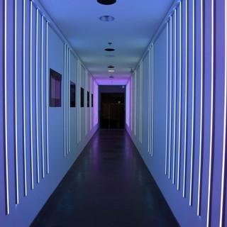מסדרון של אור - בגוונים של תכלת וסגול בהיר