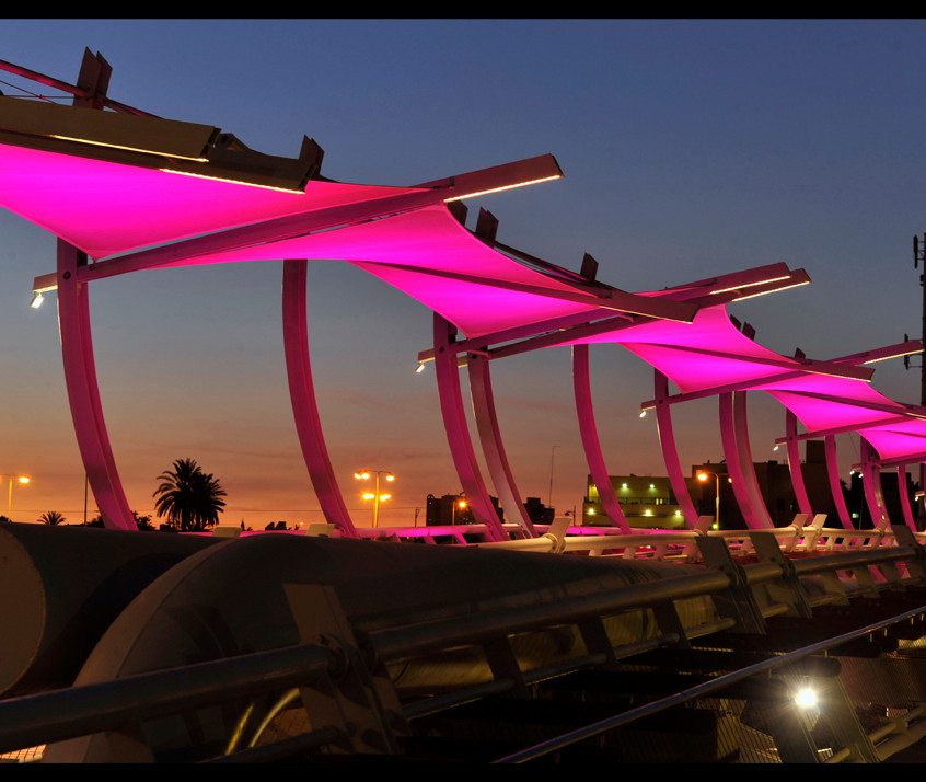 The bridge from the side - pink lighting