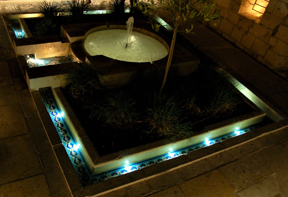 Ancient pool of water, from the Ottoman period. Unique lighting design that emphasizes the architecture
