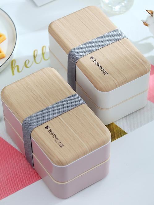 Lunch Box Wooden Style прямоугольный