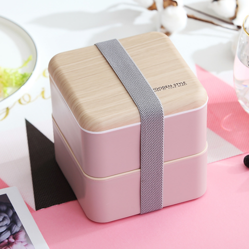 Lunch Box Wooden Style квадратный