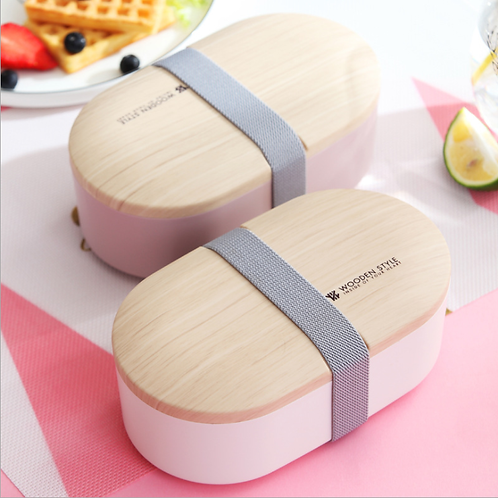 Lunch Box Wooden Style овальный