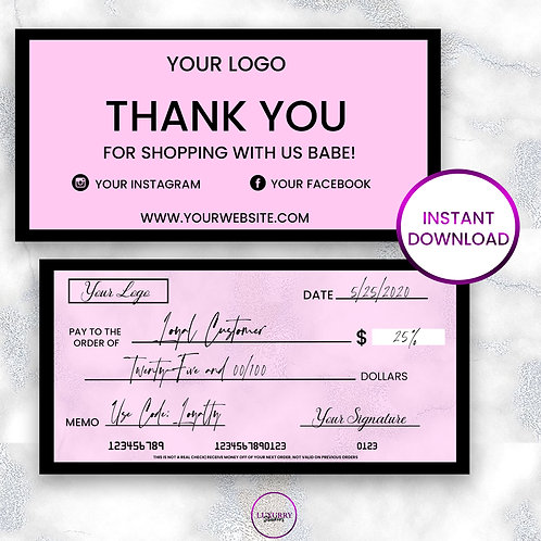 Check Themed Thank You Cards (Pink and Black)