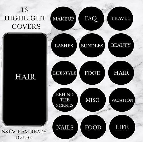 Black Stylish Text Instagram Highlight Covers