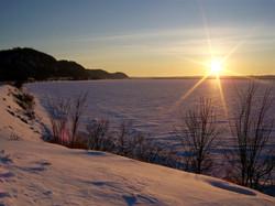 Frozen Mississippi River Sunset
