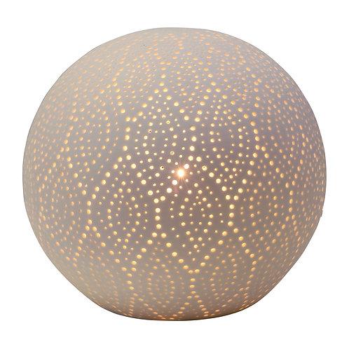 Lampe boule dentelle blanche