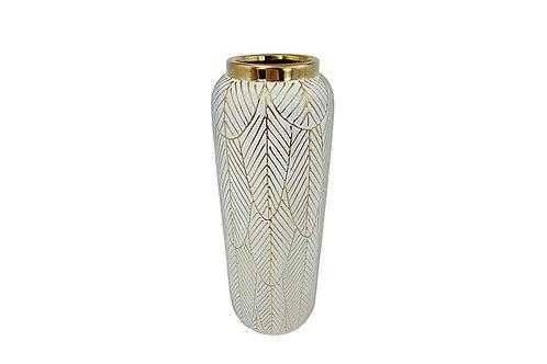 Vase décor feuilles dorées
