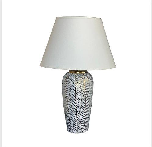 Lampe blanche à feuilles dorées