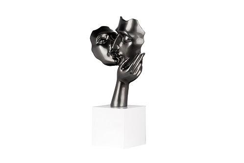"""Sculpture 'le couple d'amoureux"""" gris bronze"""