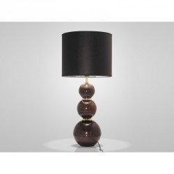 Lampe 3 boules marron et or
