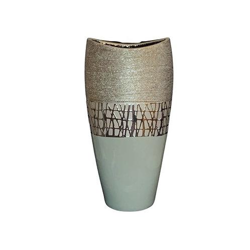 Vase chromé et vert