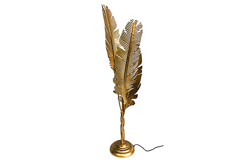 Lampe feuille palme or