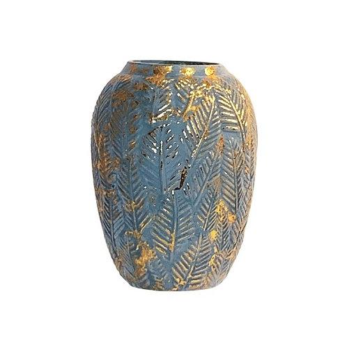 Vase bleu et or