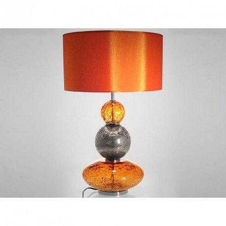 Lampe 3 Boules  en verre orange et chromée