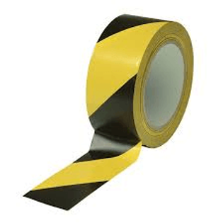 Black/Yellow Striped Vinyl Tape - 2""