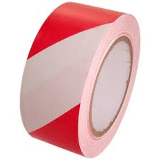 Red/White Striped Vinyl Tape - 2""