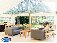 wedding marquee interior and seating area
