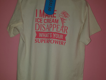 This Just in T Shirts...Pink and Tan (Glidan Ultra Cotton) Get yours at The Real Scoop Ice Cream &am