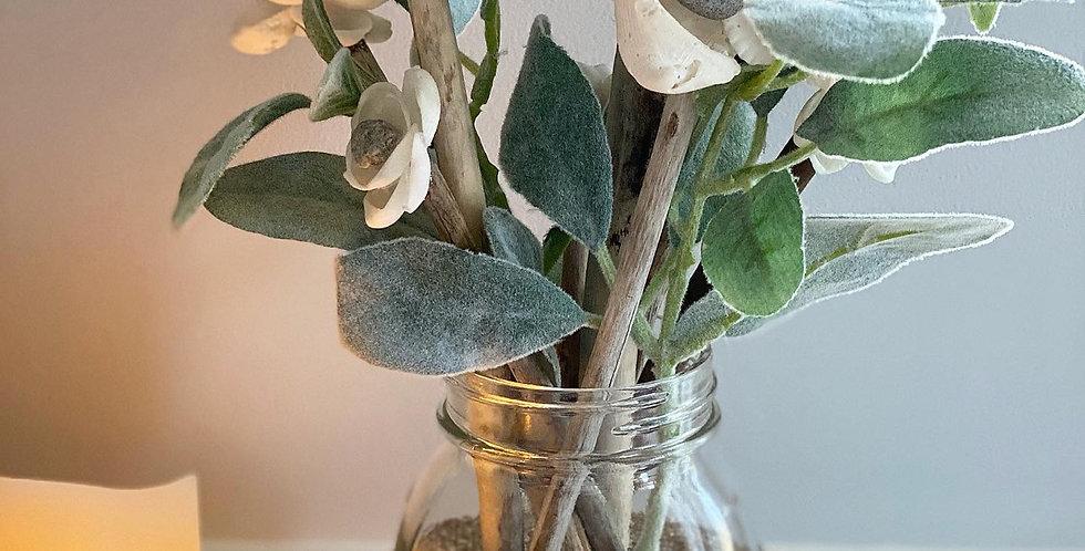Mason Jar Roses w/ Lace