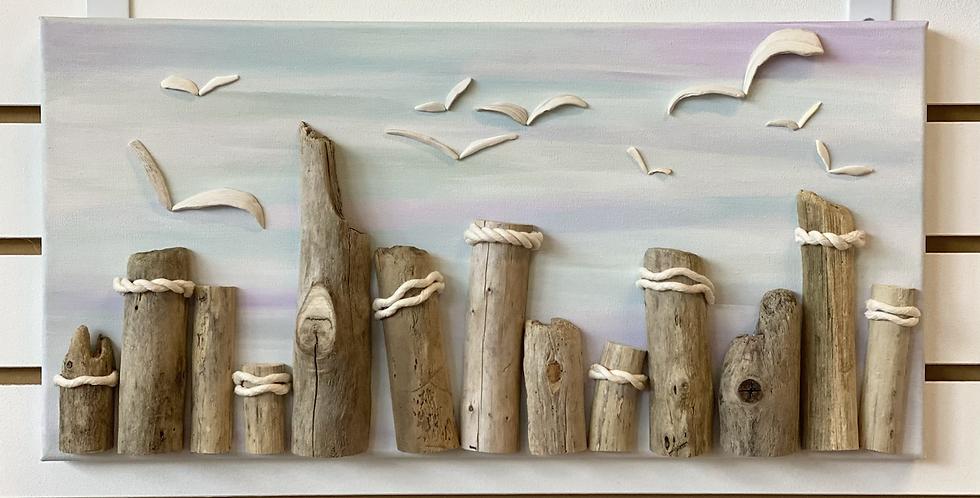 Seagulls At The Pillars - Cotton Candy Sky