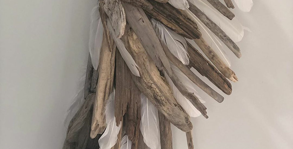 Driftwood & Feather Angel Wing