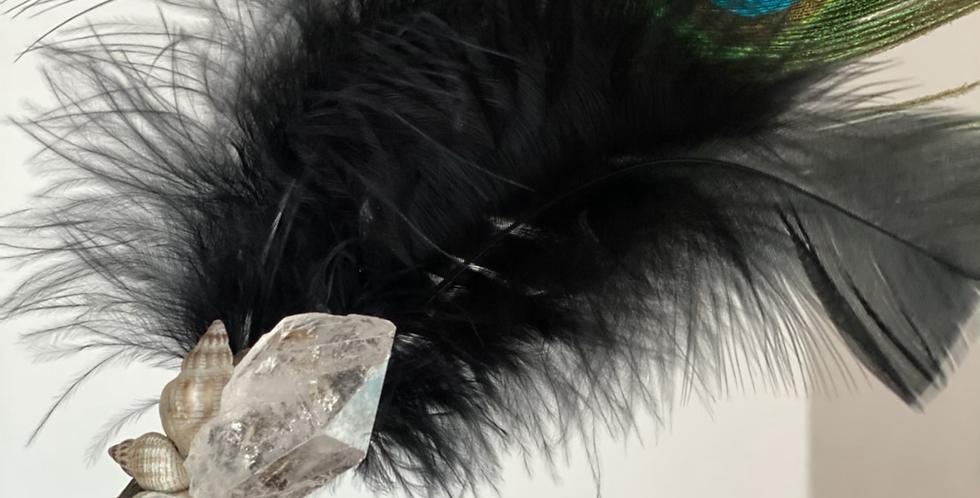 4 Element Smudge Wand- Peacock & Clear Quartz