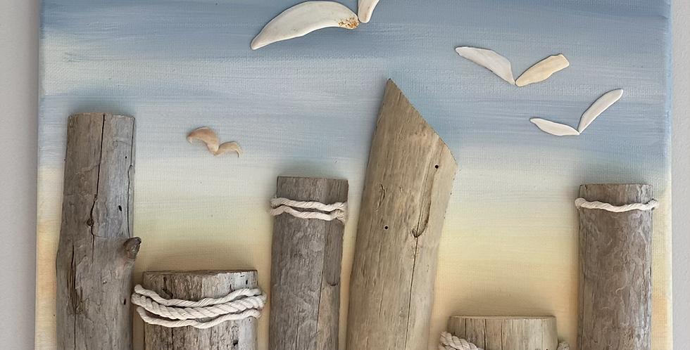 Seagulls At The Pillars Sunset