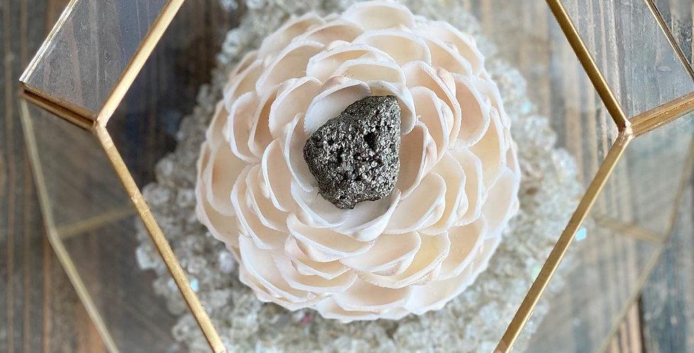 Large Rose Terrarium w/ Pyrite