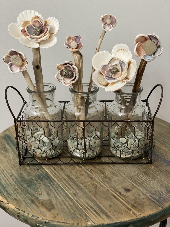 Seashell Flowers In Glass Jars