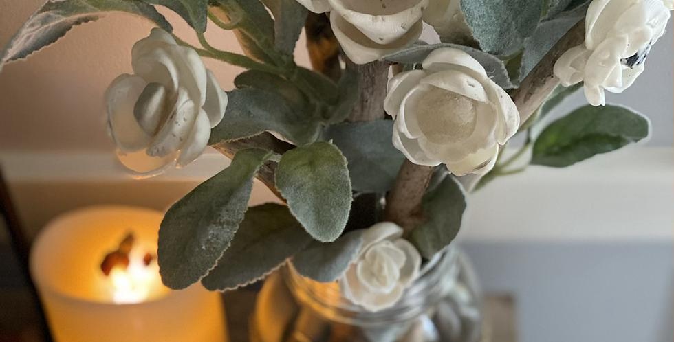 Mason Jar Roses w/ Burlap