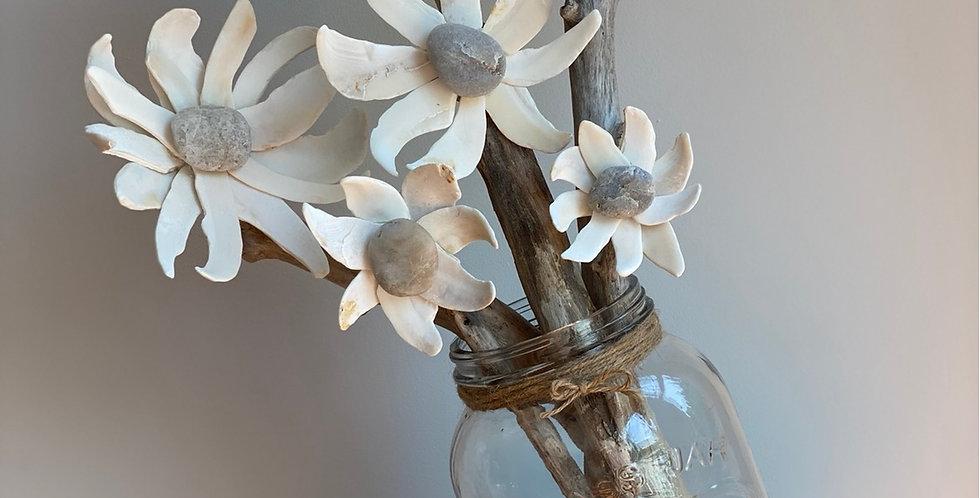 Clam Shell Flowers in XL Mason Jar