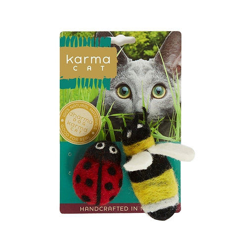 Lady Bug & Bee Wool Cat Toy