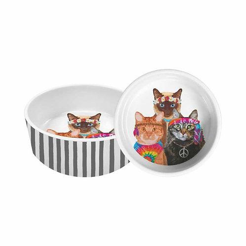 "PET BOWL, 5.5"" - GROOVY CATS"