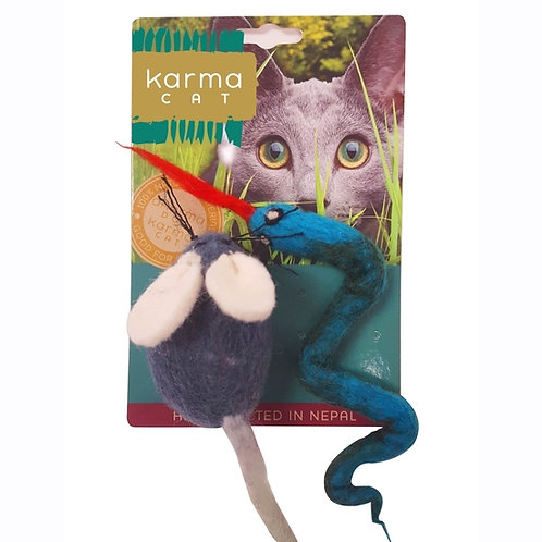 Snake & Mouse Wool Cat Toy
