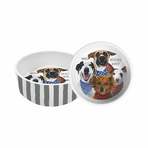 """PET BOWL, 5.5"""" - WHO RESCUED WHO?"""