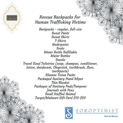 SIW Stop Trafficking Bakcpacks List