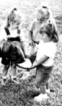 Girls Feeding Pony B&W