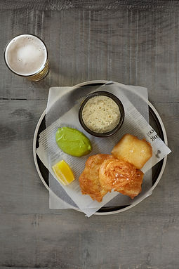 The Spotted Dog Flamstead - Cornish cod with local ale batter, chips, peas & lemon caper sauce