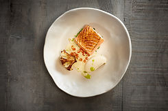 The Spotted Dog Flamstead - Charred Salmon, Cauliflower, Almond Sauce & Chives