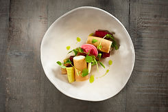 The Spotted Dog Flamstead - Smoked goats' cheese, beetroot cannoli & pickled beetroots