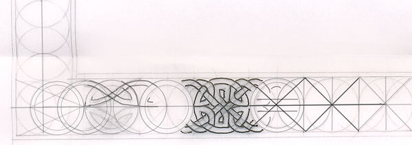 Stages of constucting a Celtic knotwork border