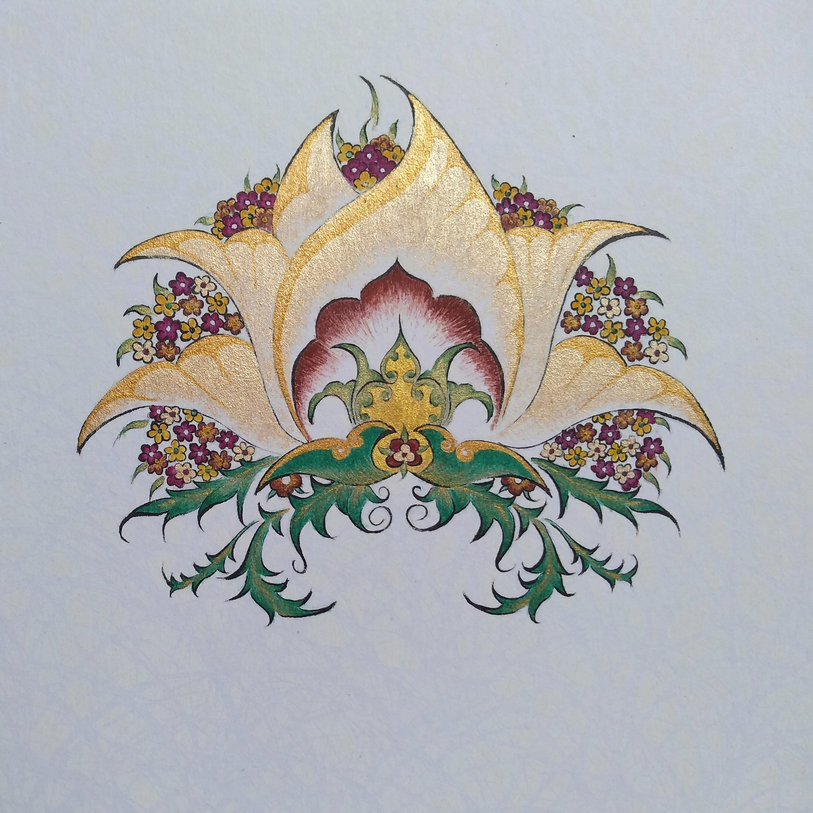 Persian Flower in Gold and Burnt Sienna