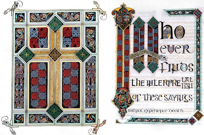 Celtic cross carpet page from Gospel of Thomas illuminated manuscript