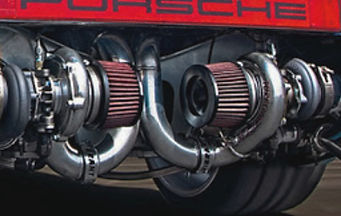 Porsche has been modified with twin turbos installed where the rear bumper used to be
