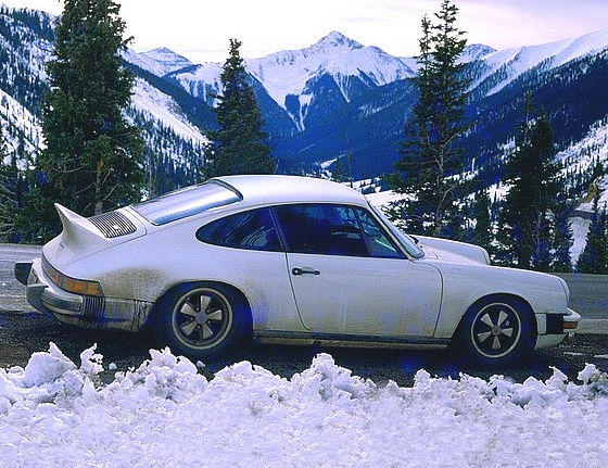 '74 Porsche Carrera parked on Rocky Mountain Road