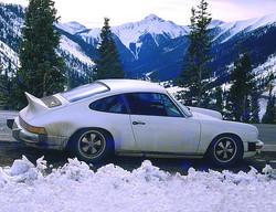 '74 Porsche Carrera parked on Rocky Mountain Road